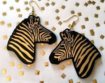 Glam Safari Black and Gold Zebra Acrylic Earrings