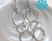 Three Irregular link dangle earrings Sterling Silver