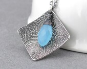 Silver Pendant Necklace Modern Silver Necklace Blue Chalcedony Necklace Bohemian Jewelry Silver Jewelry Valentines Gift for Her - Contrast