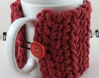 Coffee or Ice Cream Cozy in Recycled T-Shirt Red with Square Red Button (SWG-I24)