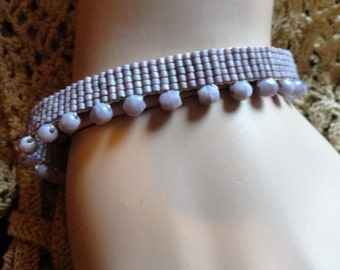 Mauve Lilac Lavender Loom Beaded Seed Bead  Bracelet Fairy Wedding Bead Cuff