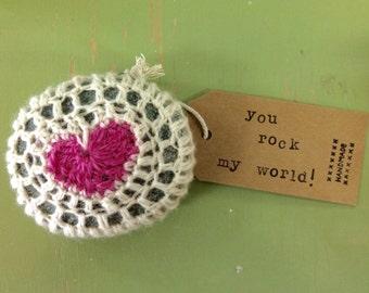 Crochet Heart Stone
