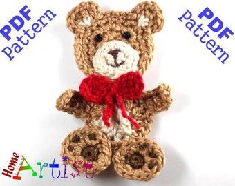 Teddy Bear Crochet Applique Pattern