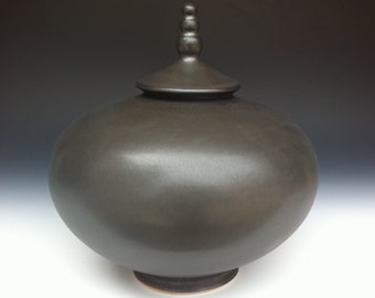 Handmade Urn - Matte Black - One of a kind Urn - Ready to Ship