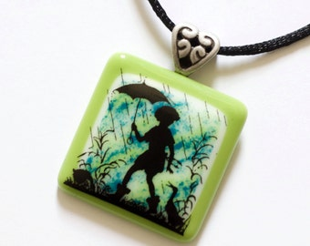 Rainy Days and Mondays - Fused Glass Pendant
