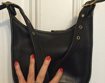 Vintage authentic black leather Coach purse