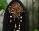 Shrunken Head With Open Eye, Hand Sculpted, Mere Immortal, One of a Kind