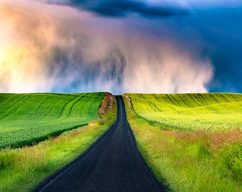 Palouse Photography, Thunderstorm Photo, Eastern Washington, Rural Landscape, Agriculture, Storm photos, Green, Nature, Palouse Fine Art