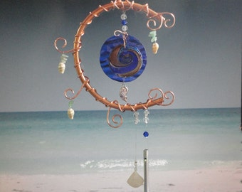 "Stained Glass Wind Chime, Sea Glass, Beach Decor, Garden Sculpture, Earth and Moon, Ocean, Copper Moon, Mobile, Wall Hanging, ""Rising Tides"""