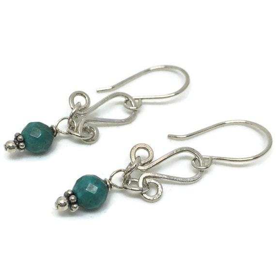 Sterling Silver Turquoise Earrings, Gifted Collection, Wire Wrapped, Blue, Gemstone, Handmade, Hammered, Links, Boho, Simple, Dangle