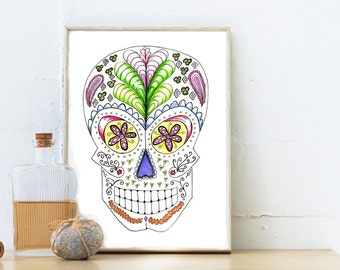 Sugar Skull illustration instantly downloaded halloween print Day of the Dead illustration