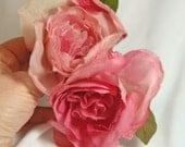 PINK MAGENTA Roses and Rose Bud Vintage Millinery Leaves 1978