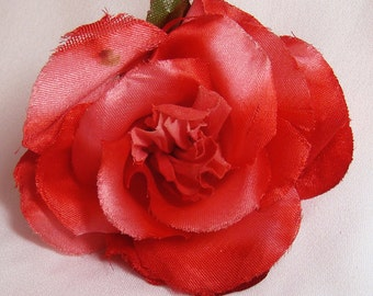 RED Satin and VELVET Vintage Millinery Rose and Leaves 1981