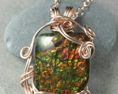 Where Sleeping Dragons Lay Ammolite and Rose Gold Freeform Wire Wrapped Pendant RESERVED for VSL