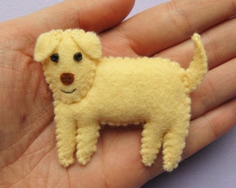 Dog, cute felt animal brooch