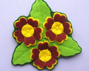 Auricula Trio Brooch, felt flower brooch