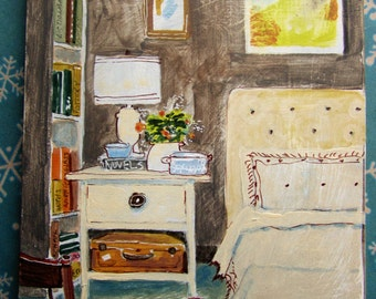 original still life bedroom with side table lamp, small art