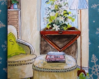 still life of interior decor sitting room small art original painting