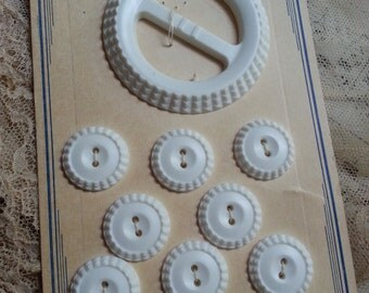 Vintage, Carded, Buckle and Buttons. Carved, White, Plastic.