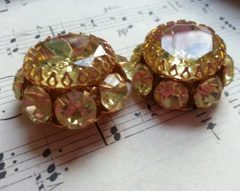 Bling ... Yellow Glass Rhinestone Buttons ... Vintage