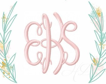 """4x4 3.5"""" inch Mastercircle Circle Interlocking Monogram Font  Embroidery Font Instant Download Ady Initials   BX instant download"""