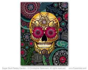 Paisley Sugar Skull 18x24 Art Canvas - Colorful Day of the Dead Art - Sugar Skull Paisley Garden by Christopher Beikmann