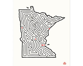 "8x10"" MINNESOTA Maze Print 