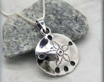 Sand Dollar Necklace Ocean Necklace Beach Necklace Beach Jewelry Sanddollar Sterling Silver Ocean Pendant (SN551)