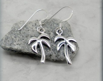 Palm Tree Earrings, Sterling Silver, Summer Earrings, Beach Earrings, Beach Jewelry, Tropical Earrings, Dangle, Minimalist, Nature (SE517)