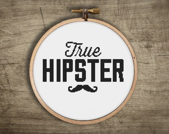 hipster cross stitch pattern ++ modern retro old school mustache ++ pdf ++ INsTAnT DOwNLoAD ++ diy ++ handmade design