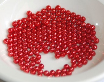 4mm Glass METALLIC RED Pearl Coated Round Beads (99) RD19