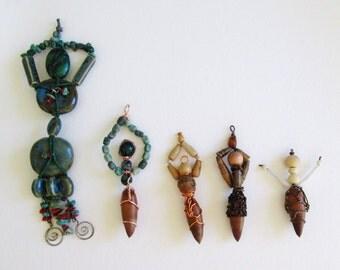 Five Goddess Ornaments  Handmade with Acorns