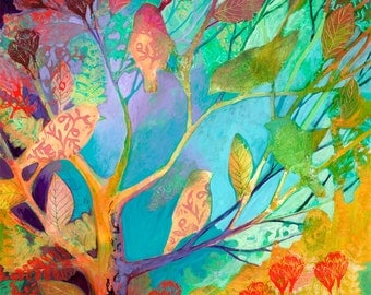 i am the forest leaves - Fine Art Bird Print by Jenlo