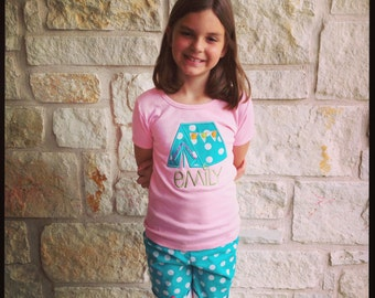 Girl's Glaming Tent Personalized Applique Tshirt