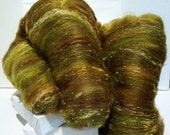 "Valentine Sale yellow green fiber art batt, roving needle nuno felting wool, spinning fiber ""Salsa Verde"" Tomatillo topaz jalapeno pepper si"