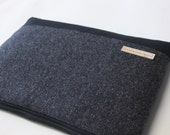 "Men's Laptop Sleeve 11.6"", 12"",  13.3"", 15.6"" MacBook Air Pro Sleeve Toshiba Kirabook Sleeve 12""  - Gray Herringbone Wool"