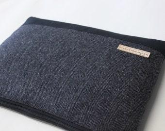 """Laptop Sleeve 11.6"""", 12"""",  13.3"""", 15.6"""" MacBook Air Pro Sleeve Toshiba Kirabook Sleeve 12""""  - Gray Herringbone Wool"""