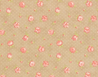 Strawberry Fields Revisited - Strawberry Blooms in Sand (tan): sku 20261-17 cotton quilting fabric by Fig Tree for Moda Fabrics - 1 yard