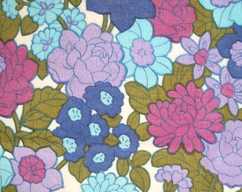 "vintage 60s 70s flower power spring garden fabric in lilac, blue and olive green 40"" wide"