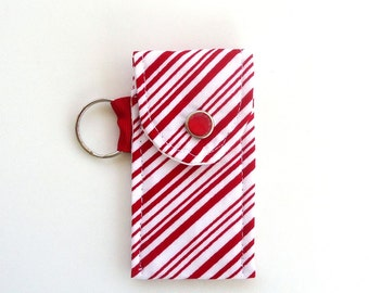 Lip Balm Holder in Candy Cane Stripes, Red and White Peppermint Stripes for Christmas