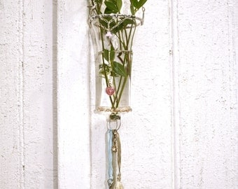 Hanging Bud Vase - One of a Kind Delight- Mixed media Assemblage work-