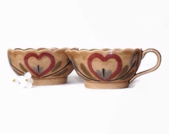 California Pottery Cream & Sugar Set, Vintage 1940's Cleminson's Distlefink, Red Hearts, Country Kitchen Decor