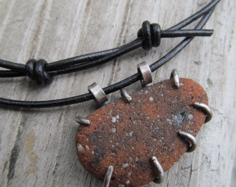 Beach Stone Necklace Silver and Leather Rough Stone Pendant Terra Cotta Unisex Mens Necklace Adjustable necklace Silver mens jewelry