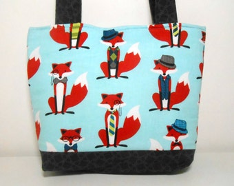 Fox Fabric Medium Purse, Fox and the Houndstooth Medium Tote Bag with Pockets