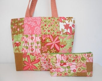 Pink Patchwork Large Tote Bag with Cosmetic Pouch, Large Pink and Green Diaper Bag with Make Up Bag