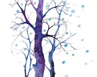 February - Blue Trees, Winter, Snow, Nature, Wilderness Available in Paper and Canvas by Olga Cuttell