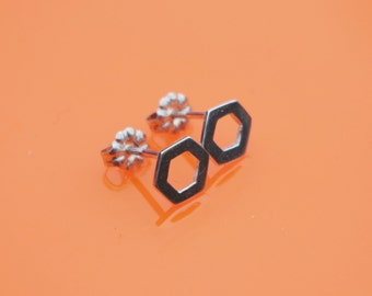 Diatom Inspired tiny hexagon stud Earrings