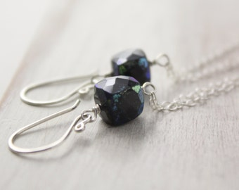 Black Spinel Cubes Silver Chain Dangle Earrings