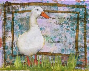 Duck PRINT | country kitchen decor | mixed media art | collage art | animal art | watercolor animals | blue green white | kitchen art