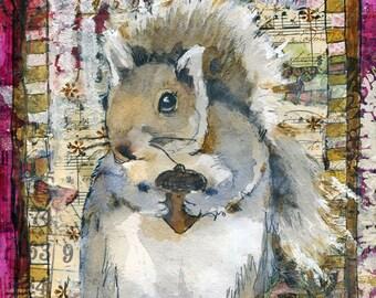 woodland animals | woodland creatures | squirrel pictures | squirrel art | Mixed Media Art | animal art | collage art | pink | PRINT